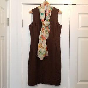 Talbots Irish Linen Chocolate Brown Dress 8